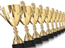 Golden trophies Stock Photo
