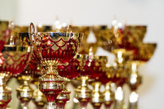 Golden Trophies. Close up champion golden trophies on white backgroup royalty free stock photos