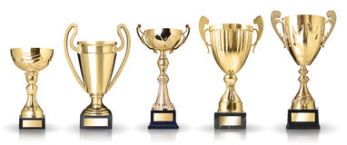 Golden trophies Stock Photos