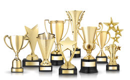 Golden trophies Stock Images