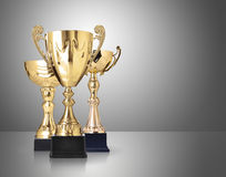Golden trophies. Three different kind of golden trophies on gray background royalty free stock photo