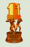 Golden trophy. First prize 3d illustration Royalty Free Stock Photography