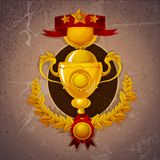 Golden Trophy Background. Golden trophy cup with winner ribbon and laurel wreath on marble background vector illustration vector illustration