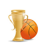Golden Trophy with Basketball Ball Stock Photos