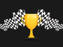 Golden trophy with black and white checkered flag. Vector illustration of golden trophy with black and white checkered flag in the background for sports events Royalty Free Stock Photography