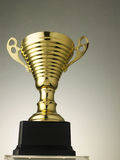 Golden trophy. Close of the golden trophy stock photography