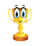 Golden trophy comic cartoon Stock Photos