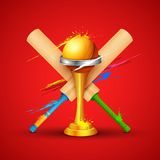 Golden trophy with cricket bat Royalty Free Stock Photos