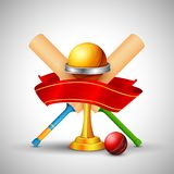 Golden trophy with cricket bat Royalty Free Stock Image