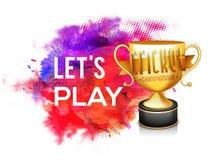 Golden Trophy for Cricket Championship concept. Stock Photos