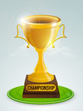 Golden trophy for Cricket Championship. Shiny golden trophy for Cricket Championship on cloudy background Royalty Free Stock Photo