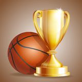 Golden trophy cup with a Basketball ball. Royalty Free Stock Image