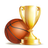 Golden trophy cup with a Basketball ball. stock illustration