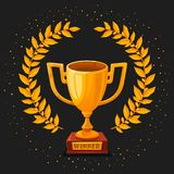 Golden trophy cup on dark background. First place winner award with gold laurel wreath and shiny dust. Champion s Gold. Goblet. vector illustration Stock Photography