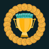 Golden trophy Cup with gold coins and dollar bills. Cash prize for winning the competition. A bribe for a victory royalty free illustration