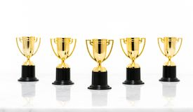 Golden trophy cup isolated on white background. stock images