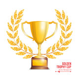 Golden Trophy Cup With Laurel Wreath. Award Design. Winner Concept. Isolated On White Background. Vector Illustration.  Royalty Free Stock Photo