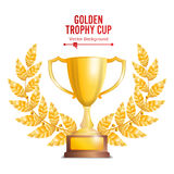 Golden Trophy Cup With Laurel Wreath. Award Design. Winner Concept. Isolated On White Background. Vector Illustration.  Stock Photography
