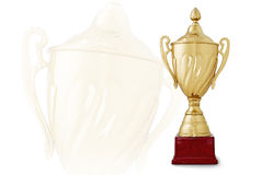 Golden trophy cup on red base on white background. Golden trophy cup on red base, symbol of winning, with a bigger transparent trophy on white background vector illustration