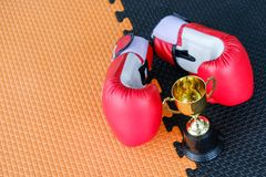 Golden trophy cup with red boxing gloves. On black and orange background royalty free stock image