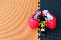 Golden trophy cup with red boxing gloves. On black and orange background stock photo