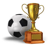 Golden trophy cup and soccer ball Stock Images
