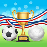 Golden trophy cup and soccer balls with french flag. On blurry green and blue background. vector illustration Stock Image