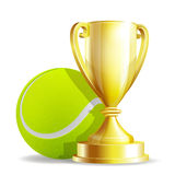 Golden trophy cup with a Tennis ball. On white background. Vector illustration Stock Photos