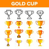 Golden Trophy Cup Vector Color Icons Set stock illustration