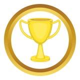 Golden trophy cup vector icon Royalty Free Stock Photos
