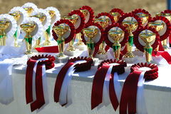 Golden trophy cups and ribbons for riders Royalty Free Stock Images