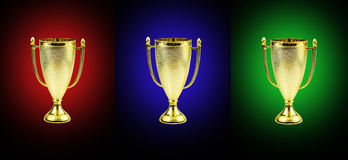 Golden trophy cups Royalty Free Stock Photography
