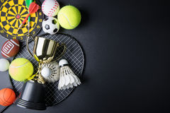 Golden trophy, Darts, Racket table tennis, ping pong ball, Shutt Royalty Free Stock Image
