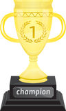 Golden trophy. First place golden trophy draw royalty free stock image