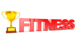 Golden Trophy and Fitness Sign Stock Image