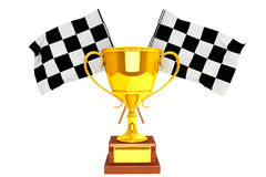 Golden Trophy and flags. Racing concept. Golden Trophy and flags on a white background Stock Photography