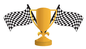 Golden Trophy and flags Royalty Free Stock Photography