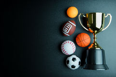 Golden trophy, Football toy, Baseball toy, Ping pong ball, Baske Royalty Free Stock Image
