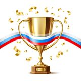 Vector realistic golden trophy cup russian flag. Golden trophy, gold cup award with russian flag ribbon. 2018 football world championship in russia. 3d First stock illustration