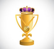 Golden trophy and a kings crown illustration. Design graphic Stock Photo