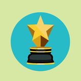 Golden trophy with one star flat design Royalty Free Stock Image