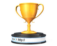 Golden Trophy over Browser Address Bar as Round Platform Pedesta Royalty Free Stock Photography