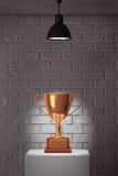 Golden Trophy over White Stand Royalty Free Stock Photo