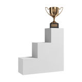Golden trophy on pedestal Royalty Free Stock Photography