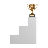 Golden trophy on pedestal Stock Image