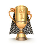 Golden trophy and racing flag. First place cup and racing flag on background Royalty Free Stock Photography