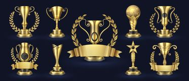 Golden trophy. Realistic champion award, contest winner prizes with laurel shapes, 3d awards banner. Vector golden cup. Set vector illustration