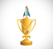 golden trophy and a rocket. speed concept Royalty Free Stock Photography
