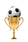 Golden trophy with soccer ball Stock Photo