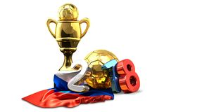 Golden trophy soccer football russian colored 2018 3d rendering. Illustration Royalty Free Stock Photography